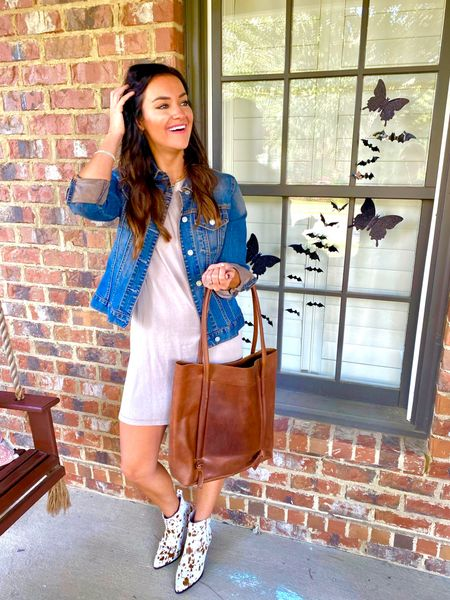 Fall transition outfit for date night in my new cowhide booties with some of my new favorite fall and Halloween decor! Use code HEATHERBROWN20 for 20% off all my Able favorites!   #LTKitbag #LTKworkwear #LTKSeasonal