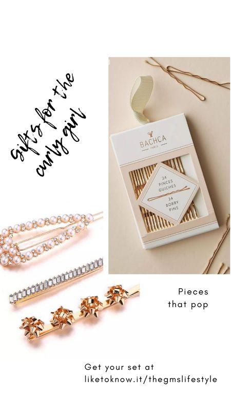 Gift ideas for the curly girl. Decorative bobby pins for holiday hairstyles.   http://liketk.it/31JSn   @liketoknow.it #liketkit #LTKgiftspo #LTKsalealert #LTKunder50 #curlyhair #naturalhair #holidayhairstyles #bobbypins