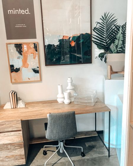 Who needs a cuter office space? Shop this desk, office chair and fun office decor to elevate your workspace! Working from home can be so much more enjoy with framed artwork, wooden office desk and modern chairs for your office!!! #liketkit http://liketk.it/2VjzW @liketoknow.it #rStheCon #LTKhome #StayHomeWithLTK @liketoknow.it.brasil @liketoknow.it.family @liketoknow.it.europe  Follow me on the LIKEtoKNOW.it shopping app to get the product details for this look and others