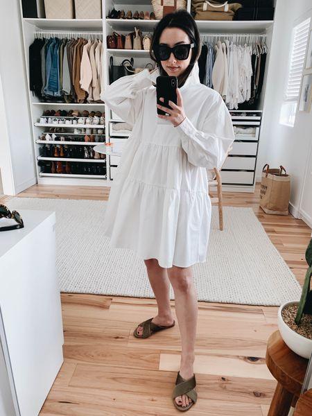 Shirt dress. White shirt dress.   Dress - En Saison xs Sandals - Jenni Kayne 36 Sunglasses - Quay   http://liketk.it/3eMSE #liketkit @liketoknow.it #LTKshoecrush #LTKstyletip