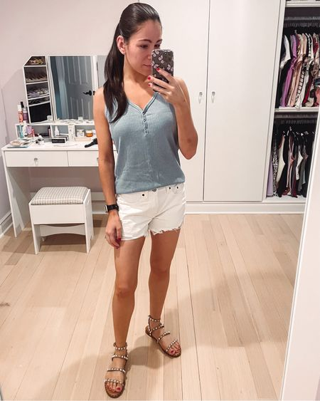 One more look with these awesome mom shorts because I'm so in love with them. The white denim pairs great with this pretty blue tank from Amazon fashion. Also wearing Steve Madden studded sandals here.   #LTKDay #LTKshoecrush #LTKSeasonal