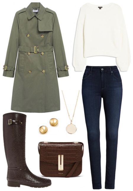 Fall rainy day style  . . . Fall outfit, fall outfits, fall style, trench coat, rain coat, green coat, green jacket, fall jacket, rain boots, hunter, croc embossed, fall boots, brown bag, crocodile, croc embossed bag, crossbody bag, sweaters, skinny jeans, gold jewelry, gold coin necklace, gold studs, gold earrings   #LTKSeasonal #LTKshoecrush #LTKstyletip