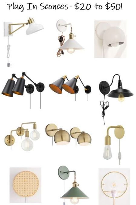 Had to round up these affordable plug in wall sconces for every style! They are great for master bedroom lighting, a play room, a kids room, a nursery... so many options when price and hard wiring isn't an issue! http://liketk.it/2CL7r #liketkit @liketoknow.it #LTKunder100 #LTKunder50 #LTKhome