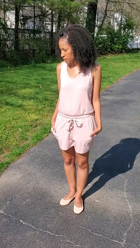 Spotted the perfect pink romper. It''a comfy enough to wear at home  and cute enough to wear in the go. I'm wearing a size XS in the romper and an 8 in the ballet flats. Both fit to size.   #LTKunder50