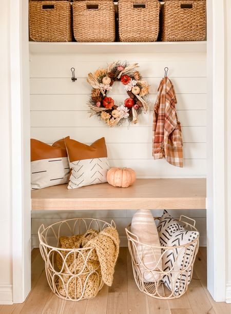 Open weave baskets and fall several Fall wreaths linked here. Storage baskets linked come in a set of 5!   #LTKSeasonal #LTKunder50 #LTKsalealert