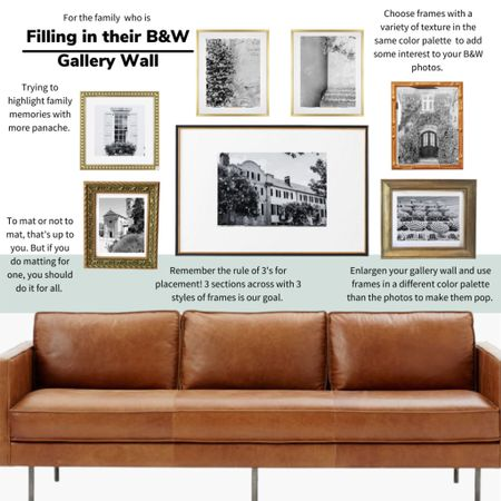 For the family filling in their gallery wall- keep it simple but remember the rule of 3's! 3 sections and no more than 3 styles of frame. We love mixing vintage with new for a refined look. #gallerywall #livingroomdecor #livingroom  #LTKunder100 #LTKhome