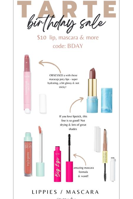 Tarte cosmetics bday sale! Favorite lip Products and mascara only $10 with code BDAY!! Time to stock up or get as holiday gifts!    #LTKHoliday #LTKbeauty #LTKGiftGuide