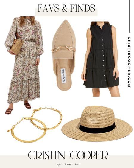 Favs & Finds // dress // mule // bracelet set // hat http://liketk.it/3gkWT #liketkit @liketoknow.it
