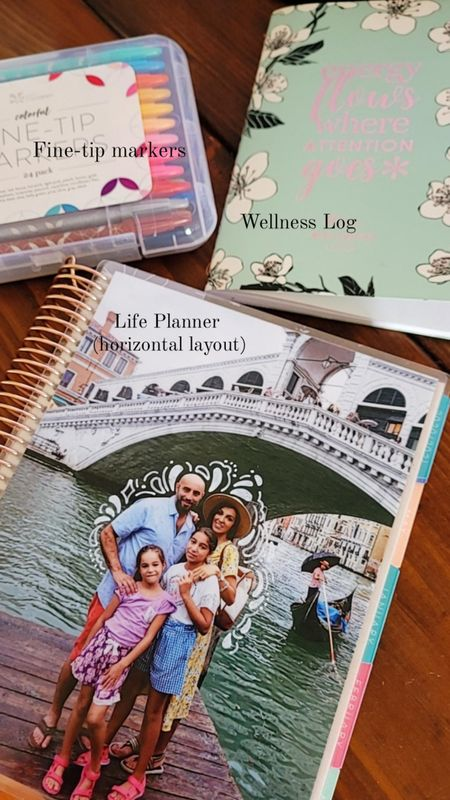 Life Planner, Wellness Log and markers currently on my desk that help me remain organized and focused! http://liketk.it/3hgyl @liketoknow.it #liketkit Erin Condren // planner // journal// log