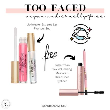 Get these Too Faced exclusive sets through Nordstrom for their anniversary sale. Great deal on the Better Than Sex mascara and lip plumper. My fave!!   #vegan #crueltyfreecosmetics #cleanbeauty #cleanmakeup #Nordstromsale #plantbasedmakeup #crueltyfree  #LTKunder50 #LTKunder100 #LTKbeauty