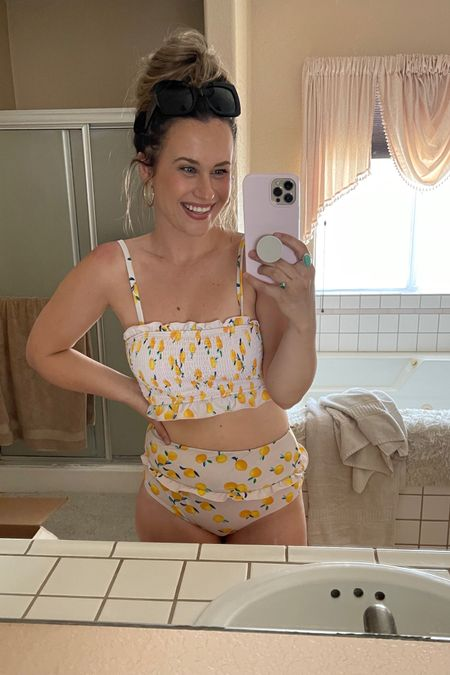 Amazon swimsuits: this high waisted bikini is so good! Love the lemon print. Also linked these gold hoops and sunglasses both are amazon finds! http://liketk.it/3f8bs #liketkit @liketoknow.it #LTKunder50 #LTKswim #LTKsalealert
