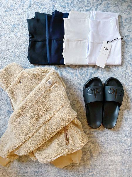 My ALO YOGA Cyber Monday haul! Sherpa jacket, Airlift and Airbrush leggings, slides.  Great gift ideas for the holiday. Everything TTS on sale!   #LTKsalealert #LTKgiftspo #LTKunder100