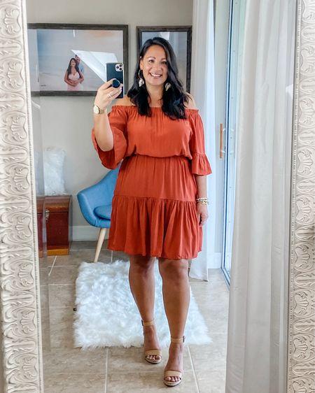 Summer off the shoulder dress, Orange. Shell earrings. http://liketk.it/2SCJs #liketkit @liketoknow.it