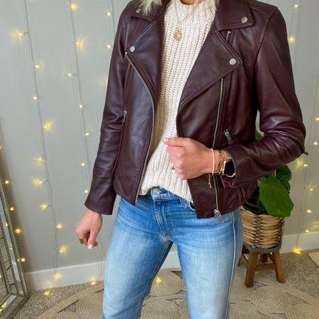 Best of the #nsale  This gorgeous leather moto jacket is an outfit maker + a great investment for my year around wardrobe!   I sized up to an 8 in this one, it runs small.  #LTKworkwear #LTKstyletip #LTKsalealert