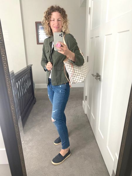 Went to a park play date today! Took office my jacket halfway through the morning.  This is my favorite tee shirt! I have them in every color and lots of white ones! #jeans #outfitideas #toms #utilityjacket #besttees #fancywatch #louisdupe #walmartfashion