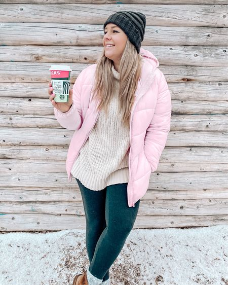 I'm seriously obsessed with this pink puffer jacket. I paired it with a turtleneck, leggings, Ugg's and a Pom Pom hat for the perfect winter walk outfit! http://liketk.it/34rX7 #liketkit @liketoknow.it #LTKunder100 #LTKstyletip #wintercoat #winterjacket #pinkpufferjacket #warmwintercoat #wintercoats #puffer #puffercoat #pufferjacket #uggs