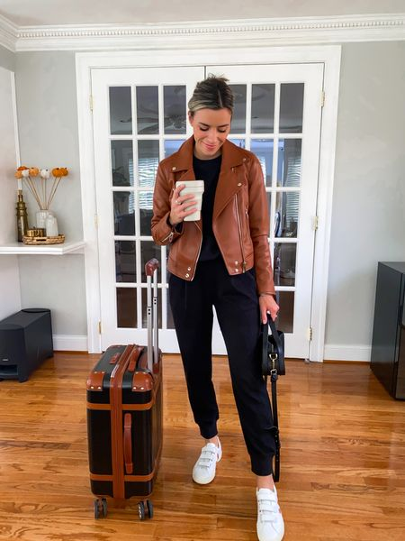 Moto jacket size XS Joggers & sweatshirt size S  travel outfits, travel outfit, travel style, airport look, airport style, travel look, airport outfit  #LTKtravel #LTKfit #LTKunder100