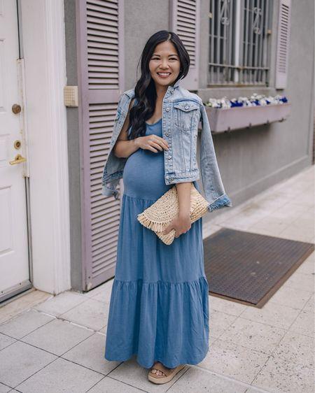 Spring outfit, spring dress, summer dress, maternity style, non-maternity bump friendly dress, maternity outfit, maternity friendly, Nordstrom finds, Nordstrom dress, casual outfit: light blue maxi dress (XS) light wash denim jacket (XS), straw clutch, brown slide flatforms, brown slide sandals (6.5 TTS). @liketoknow.it http://liketk.it/3e0ws #liketkit   #LTKunder100 #LTKstyletip #LTKbump