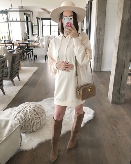 F A S H I O N // Whoever invented the sweatshirt dress is a genius!!😍 Cozy and cute!✔️✔️ Loving this neutral monochromatic look for fall🍂🍂  Sharing this $38 dress over on today's Friday Finds! I'm wearing a 6 - runs big so I'd down. Paired it with my fave high tan boots, nude hat and velvet bag! Mixing all the neutral materials - I'm here for it!!🙋🏻♀️ Shop this fall #ootd here on the @liketoknow.it app!  #dress #falldress #LTKbump #maternityfashion #ltkfall #boots #hat #fallfashion // #liketkit #LTKunder50 #LTKstyletip // http://liketk.it/2F5Rl