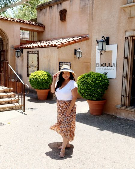 Travel style! Wore this out on our trip to Arizona. Exact top, skirt, & sandals linked below. I bought this hat in store from Target. Linked similar options. http://liketk.it/3jUGr @liketoknow.it #liketkit #stevemadden #targetstyle #expresspartner