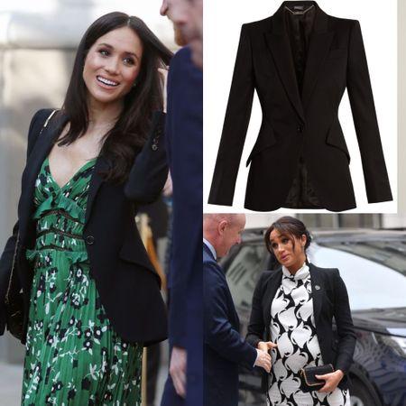 Meghan wearing Alexander McQueen grain de Poudre blazer #work #business #jacket  #LTKworkwear