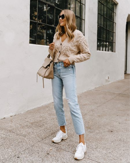 Cozy cable cardigan for fall from Nordstrom (tts) Levi's jeans, Veja sneakers #cardigan #sneakers #veja   #LTKstyletip #LTKshoecrush #LTKunder100
