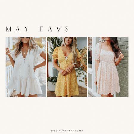 May favs ✨💛✨  May, spring, spring dresses, white dress, mini dresses,  tiered dress, yellow dress, pink dress  #LTKSeasonal #LTKfit #LTKunder100