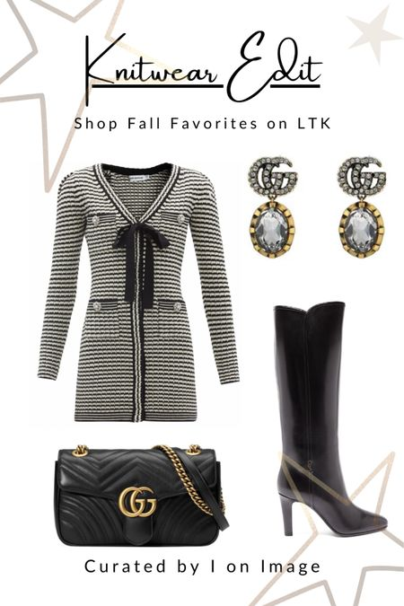 Parisian chic for autumn: Self-Portrait ribbed black and white striped knitted mini dress with long sleeves, chic crystal and pearl buttons and a black pussy-bow. Styled with Saint Laurent knee-high boots, Gucci GG logo Marmont chain bag and double G-logo and crystal drop earrings 🖤  Knitted dress, mini dress, body-con dress, pearl buttons, crystal buttons, black and white dress, stripy dress, Chanel style, feminine style, elegant style, fall fashion, autumn fashion, AW21 #LTKfashion  #LTKworkwear #LTKeurope #LTKitbag #LTKshoecrush