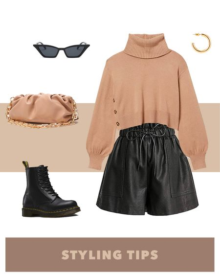faux leather shorts paired with a brown turtleneck sweater, combat boots , pouch bag, cat eye glasses , and hoop earrings makes a trendy spring outfit. Shop my daily looks by following me on the LIKEtoKNOWit shopping app http://liketk.it/39Lll #liketkit @liketoknow.it l #LTKcurves #LTKsalealert #LTKstyletip #LTKtravel #LTKunder50 #LTKshoecrush #LTKitbag #LTKunder100 # #LTKSeasonal  Amazon fashion   amazon finds   knit turtleneck sweater   knit sweater   sweater outfit ideas   brown sweater   high waisted shorts   leather shorts   summer fashion   shorts outfit   petite style   petite fashion   high rise shorts   bags under 50   bags under 100   bags on sale   sunglasses   sunglasses amazon   combat boots outfit   boots women  