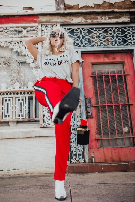 Track pants basically = sweat pants therefore I'm ALL IN. (these pants are part of the huge @shopbop sale!) use code GOBIG19   http://liketk.it/2A9UT #LTKunder100 #LTKstyletip #LTKshoecrush #LTKitbag #liketkit @liketoknow.it #trackpants #doglover #western #whiteboot #graphictee #tararrized #dfw #dallasblogger