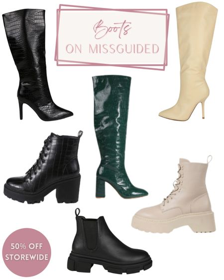 Early gifting at Missguided 50% off everything Boots | Fall boots | Combat boots | black boots | white combat boots | black boots | chunky ankle boots | knee flat boots | mid heel boots | snake boots | snake knee high mid heels boot | fashion find | fall outfits | fall inspo | faux suede knee boots | stiletto boots | green boots | gift guide | croc boots | sale alert | #melisvida #ltkholiday #ltkgift #ltkaustralia #ltkbrasil #ltkeurope #ltksalealert #ltkstyletip  #LTKSeasonal #LTKSale #LTKshoecrush
