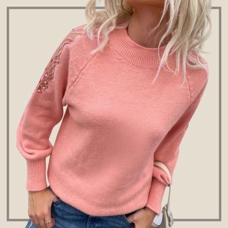 Pearl contrast mesh sleeve raglan sweater   #LTKunder50 #LTKstyletip