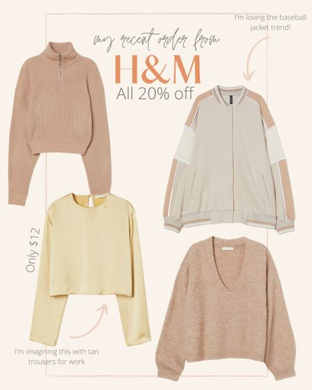 H&M is doing 20% off everything through tomorrow. Loving these neutral fall styles. You can never have too many cozy sweaters & I'm so into the baseball jacket trend 🙌🏽  #LTKSeasonal #LTKunder50 #LTKsalealert