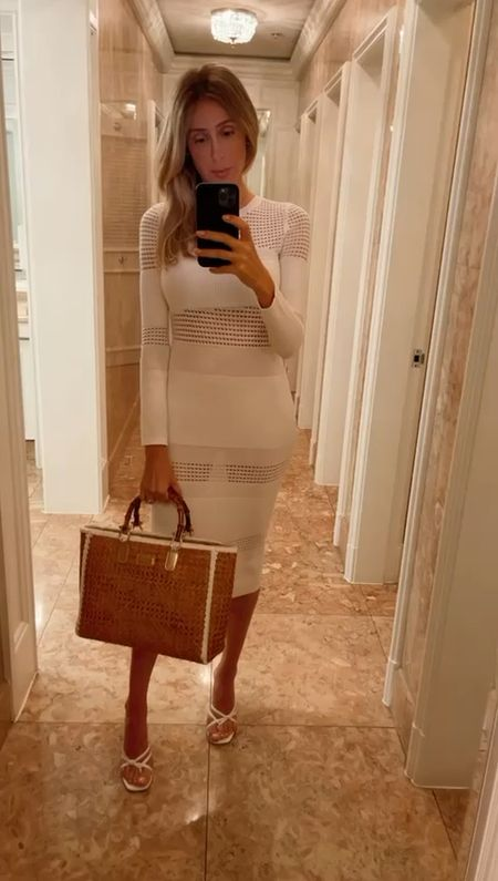 White maxi dress , knit white dress , elegant outfit style , wedding guest dress, straw bag, white sandal, summer sandal   #LTKstyletip #LTKtravel #LTKworkwear
