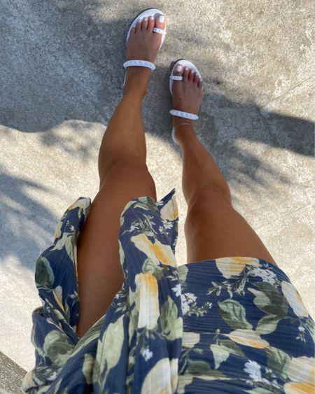 Lemon print bikini on sale in Xs bottoms sarong on sale white studded sandals #liketkit @liketoknow.it http://liketk.it/3hp26 #LTKDay #LTKsalealert #LTKswim
