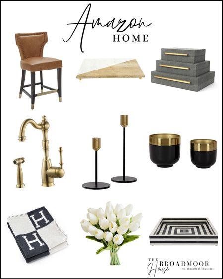 Amazon home, Amazon Finds, counter stools, barstools, cognac leather, kitchen Decour, living room Decor, Spring Decor, flowers, floral, Hermes Inspired Blanket, Brass Faucet, Candlesticks, Planter, bone inlay tray, black and white tray, black-and-white Decor, Brass Decor, Decor boxes, bathroom decor, neutral home  #LTKsalealert #LTKhome #LTKstyletip
