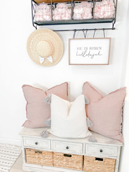 http://liketk.it/3bEoW  Spring decor Entry way  Pink pillows  Faux peonies Easter decor  Simple decorating  #liketkit #LTKhome #LTKfamily #LTKkids @liketoknow.it @liketoknow.it.home