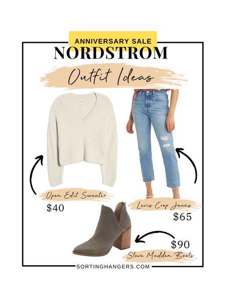 Nordstrom Anniversary Sale Outfit Ideas ✨ Open Edit Beige Sweater | Levi's Crop Ankle Straight Jeans | Steve Madden Ankle Boots  #LTKsalealert #LTKstyletip #LTKshoecrush