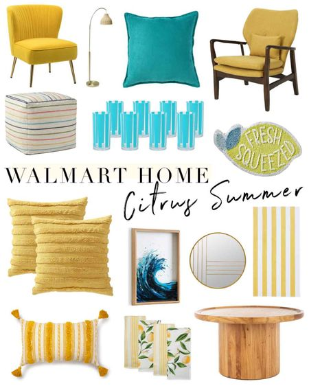 Loving this colorful home trend for summer! #ad Get the look at @walmart with citrus yellow home accents, splashes of bright blue and crisp upbeat whites. The striped tumbler set is just $17 for 8 glasses! http://liketk.it/3jupC #liketkit @liketoknow.it #LTKhome #LTKunder50 #walmarthome
