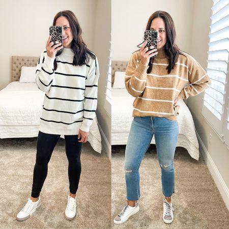 One sweater / two looks  Sweater is TTS Faux leather leggings - small Denim - TTS 27  Sneakers TTS   #LTKshoecrush #LTKSeasonal #LTKstyletip