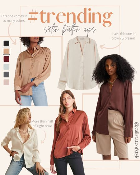 I'm seeing so many satin button ups lately & I love this trend! They come in such pretty neutral colors. I ordered a M in the brown & beige ones I have from H&M for an oversized fit  #LTKstyletip #LTKsalealert #LTKSeasonal