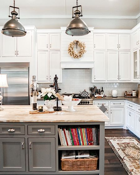 . This is a view of my kitchen I don't think I've ever shown.   I get a lot of questions about my rugs and these light fixtures, so I'm linking everything here.   http://liketk.it/34S2z #liketkit #StayHomeWithLTK #LTKhome #LTKsalealert @liketoknow.it.home @liketoknow.it      You can instantly shop all of my looks by following me on the LIKEtoKNOW.it shopping app