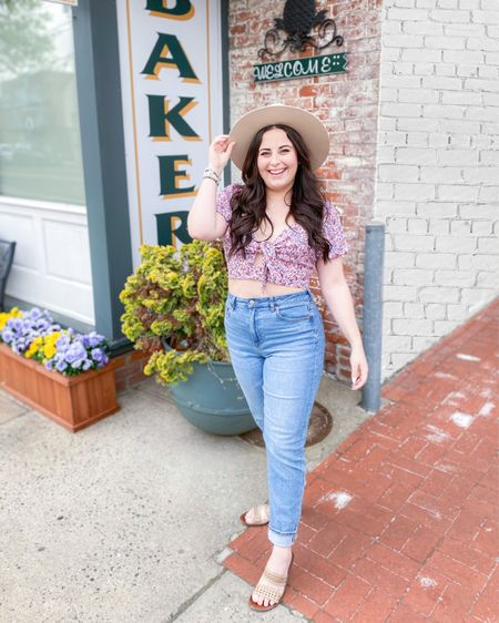 Floral crop top with tie front for $20! Size up.  Stretch curvy mom jeans: TTS Flat brim felt fedora  Embellished sandals   http://liketk.it/3fuZy #liketkit @liketoknow.it #LTKstyletip #LTKunder50 #LTKshoecrush