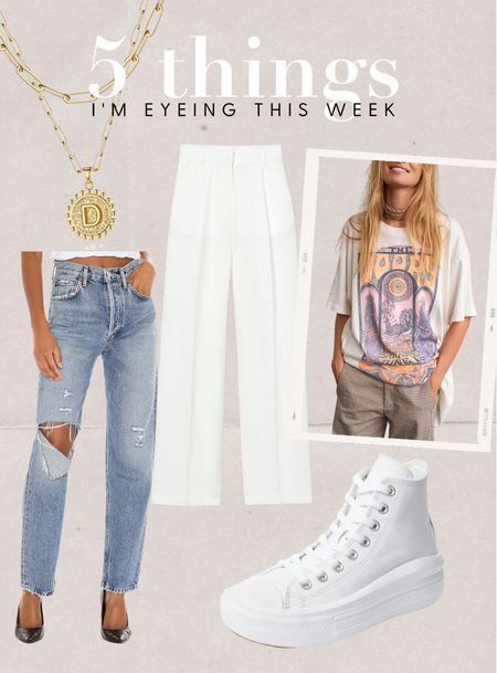 5 things I'm eyeing this week. Agolde pinch waist jeans, wide leg white pants, tshirt dress, Amazon necklace and platform converse!