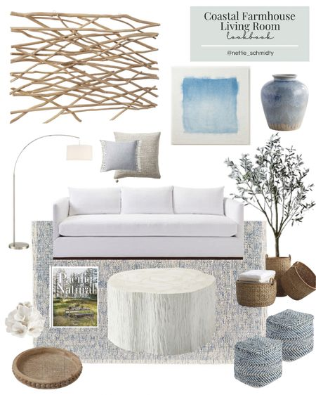 Coastal Farmhouse Living Room Decor 🤍 Inspiration for a neutral modern family room, living space or den with large white couch, driftwood wall art, large white wood stump coffee table, sea grass basket, faux olive tree, blue poufs, wooden tray, light blue linen curtains, blue abstract art and large blue vase and throw pillows.  Stay tuned for more farmhouse living room lookbooks every Wednesday this month! .  You can instantly shop my looks by following me on the LIKEtoKNOW.it shopping app http://liketk.it/3gSlA #liketkit @liketoknow.it #LTKhome #LTKstyletip #LTKwedding @liketoknow.it.home