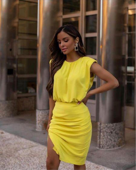Express summer outfit Express neon skirt and blouse  Express earrings  #LTKDay  #LTKunder100 #LTKworkwear #LTKsalealert
