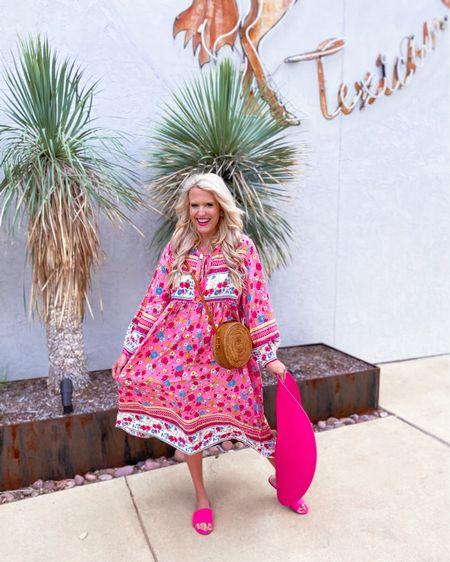 Amazon floral dress size L,  target pink shoes TTS,  Amazon earrings,  pink floppy hat/similar ones linked.  Gold initial necklace on sale during the Nordstrom sale Amazon woven basket purse Summer dress, vacation dress, summer outfit, Amazon dress, Nordstrom sale    http://liketk.it/3jCRe  #liketkit @liketoknow.it #LTKsalealert #LTKunder50 #LTKstyletip