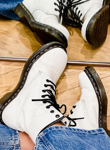 These white Doc Martens are the perfect summer to fall transition boot!👢  #LTKshoecrush #LTKstyletip #LTKSeasonal