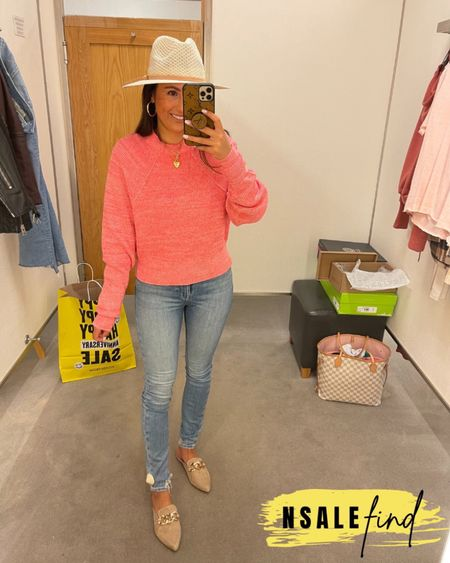 Nordstrom anniversary sale outfit - frame jeans true to size and have stretch. Sweater is my normal xs. Obsessed with this hat! It was my fave I tried on! Mules are true to size but you probably need to size up if you have a wider foot. I have a narrow foot.  #nordstromanniversarysale #nordstrom #nordstromanniversarysale2021 #nsale #nsale2021 #anniversarysale #nordstromsale Nordstrom anniversary sale Nordstrom anniversary sale 2021 nsale nsale2021        #LTKunder100 #LTKsalealert #LTKshoecrush