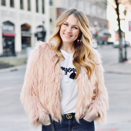 """feeling all the Parisian vibes today thanks to my """"bonjour"""" tassel t 💕 plus I could totally go for some Angelina's Hot Chocolate right now, brrrrrrr! ☃️  this look is on AmandasOK.com + you can screenshot or 'like' this pic to shop with @liketoknow.it #liketkit #LTKunder50 http://liketk.it/2ugRr"""